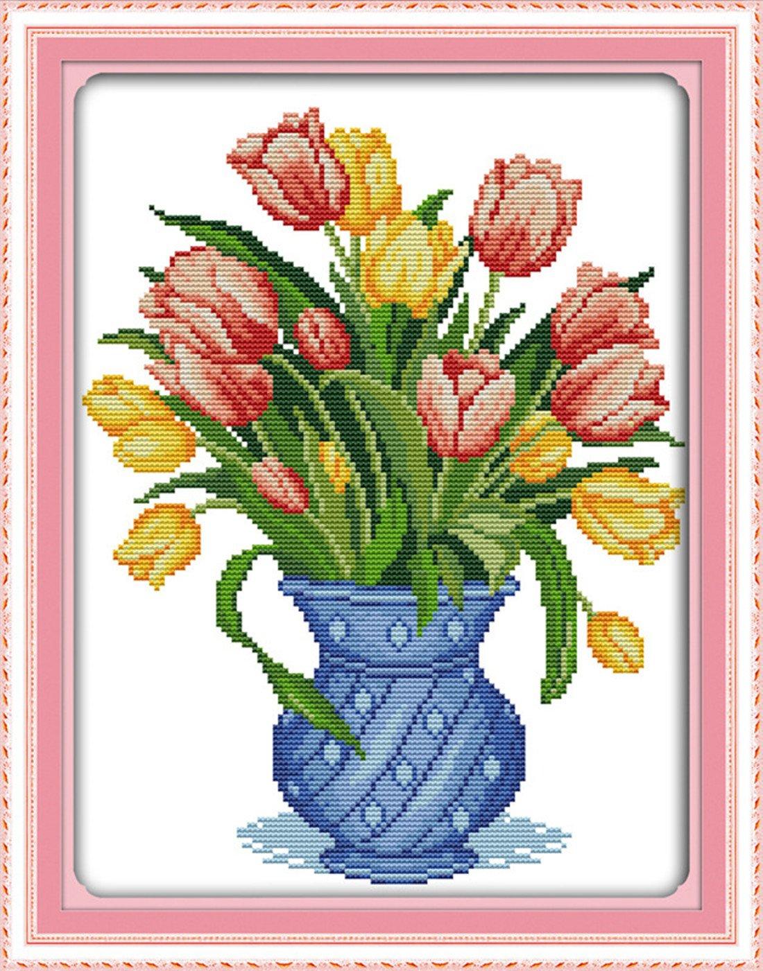 Amazon egoodn stamped cross stitch kits with printed pattern amazon egoodn stamped cross stitch kits with printed pattern flower tulip vase 146 x 185 11ct aida fabric for embroidery art cross stitching nvjuhfo Gallery