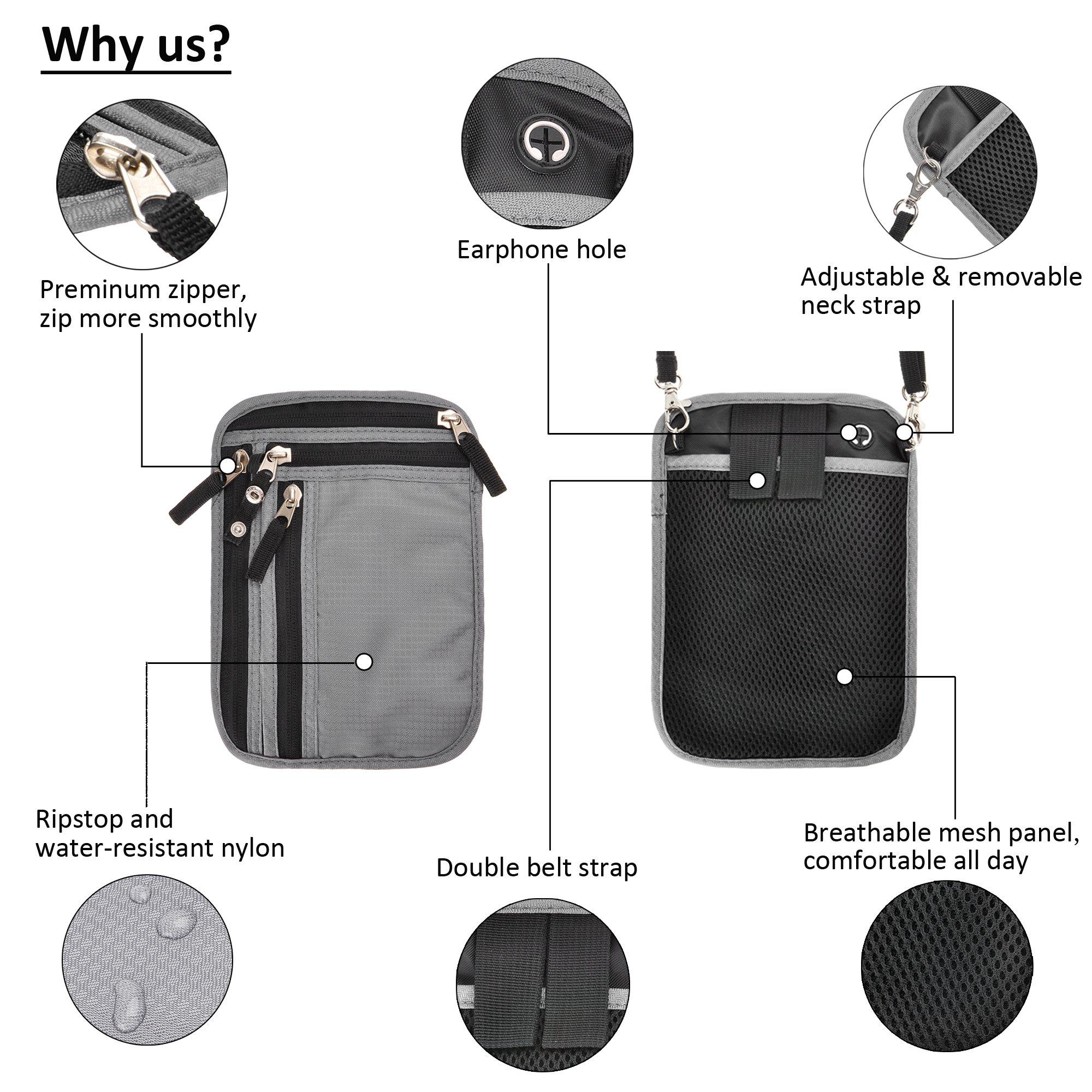 RFID Blocking 2-in-1 Travel Neck Stash and Belt Wallet Security Hidden Passport Holder Pouch by ZLYC (Image #5)