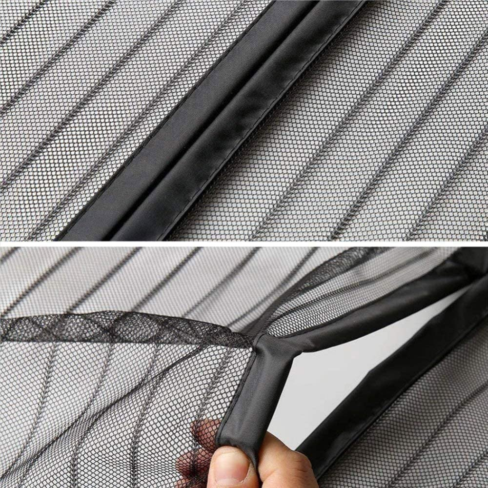 YKXIAOYU Magnetic Fly Screen Door 210 cm Mosquito Net Mesh Curtain with Full Frame Hook and Loop Fasteners,Black,80