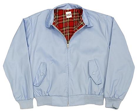 ade6f8c0a485b Harrington Jacket with Tartan Lining - Sky Blue - L: Amazon.co.uk: Clothing