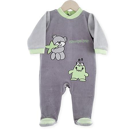 Kinousses Dors Bien bebé Pelele para niño oso y monstruo gris gris gris Talla:18