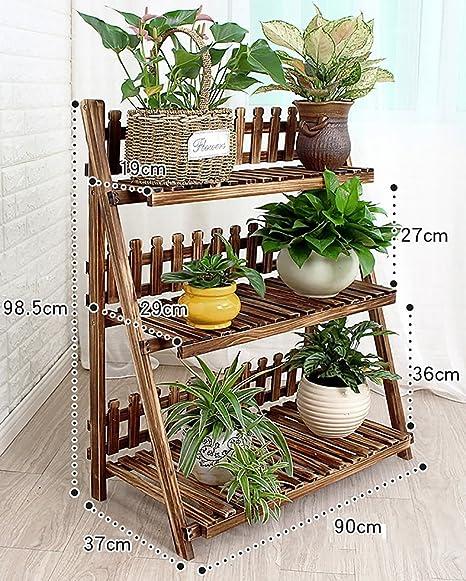 Soportes de Flores estantes Madera/Plantas para Interiores y Exteriores macetas múltiples Capas Escalera 3f Soporte exhibición Tipo Suelo Estante: Amazon.es: Hogar