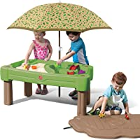 Step2 Cascading Cove Sand & Water Table with Umbrella Kids Sand & Water Play Table with Umbrella 6-pc Accessory Set Included, Green