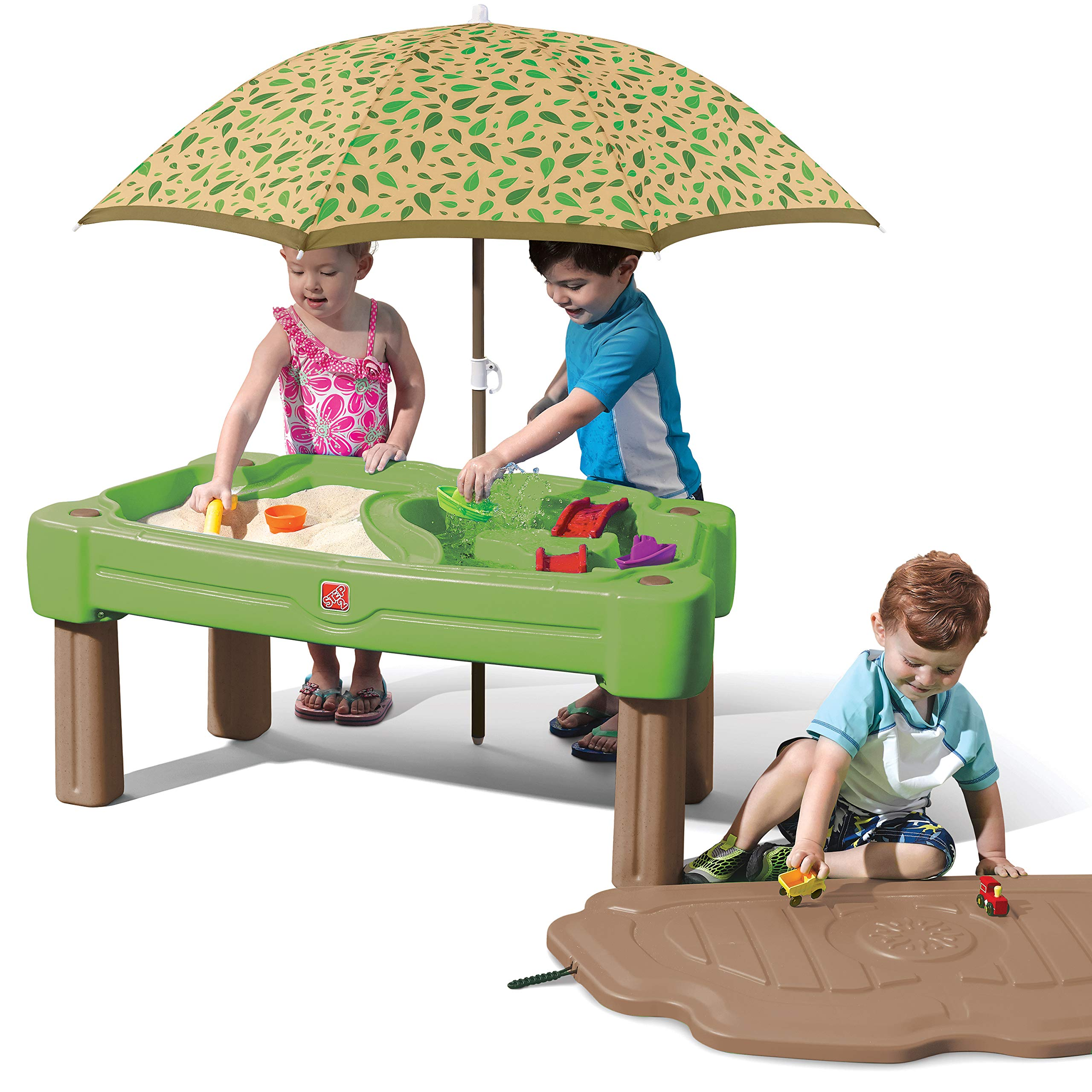 Step2 Cascading Cove Sand & Water Table with Umbrella | Kids Sand & Water Play Table with Umbrella | 6-pc Accessory Set Included by Step2
