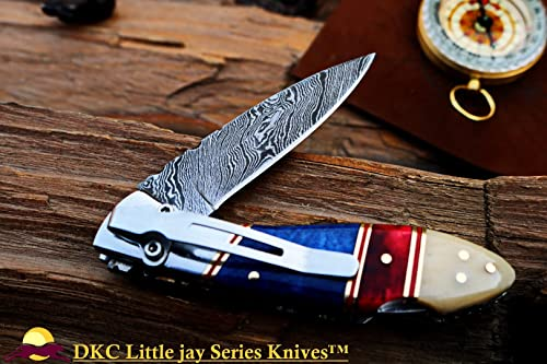 DKC Knives Sale DKC-58-LJ-CL-DS-PC Little Jay Classic Pocket Clip Damascus Folding Pocket Knife Buffalo Horn Handle 4 Folded 7 Long 4.7oz oz High Class Looks Incredible Hand Made LJ-Series