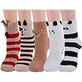 ZOYLINK Calcetines Esponjosos, Calcetines Elásticos Suaves de Patrón Lindo de Navidad Calcetines de Felpa Cálidos…