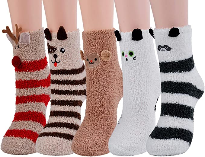GIRL 1 PAIRS THERMAL COSY WINTER CHRISTMAS SOCKS FUR 4.7 TOG FLUFFY FUR SLIPPER