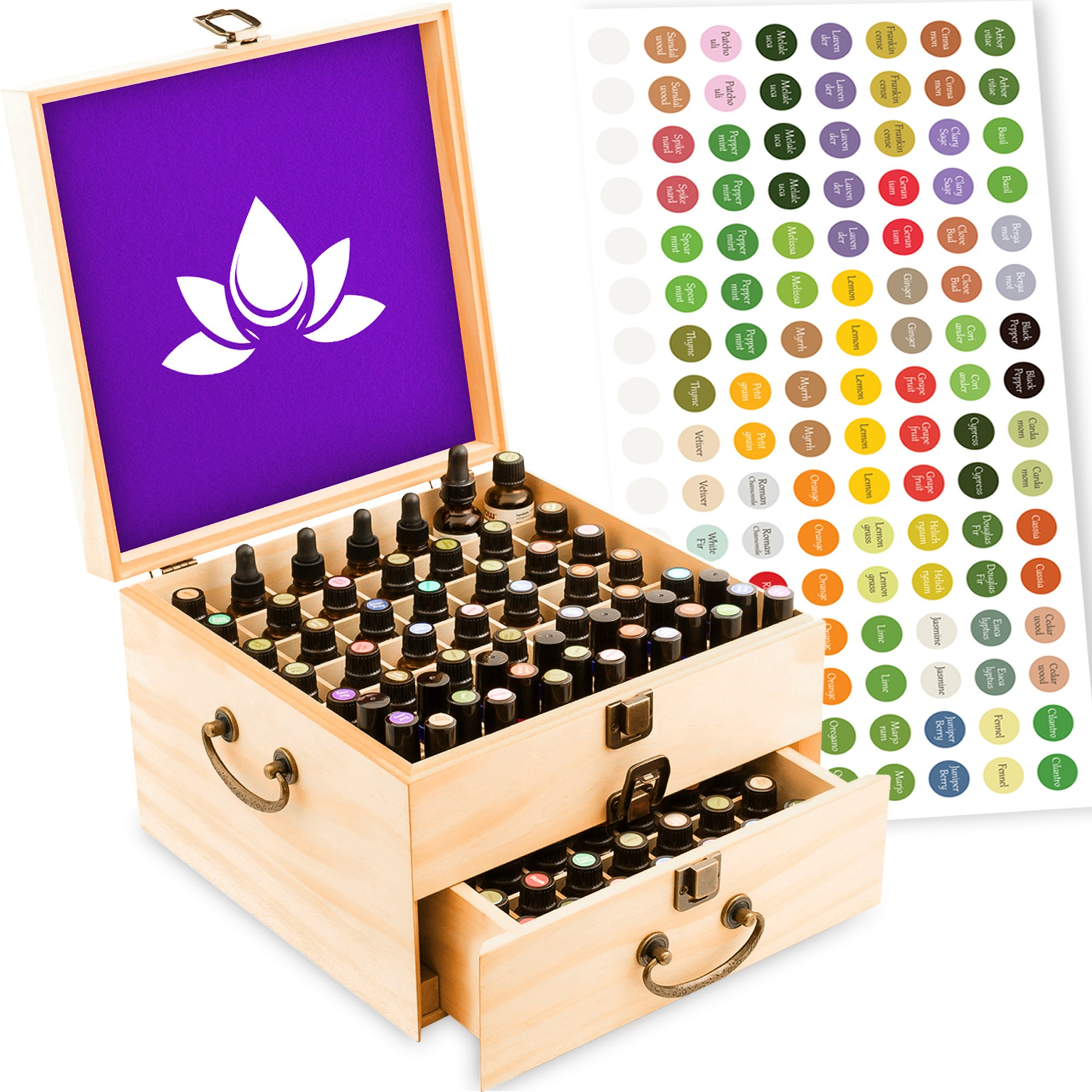 Essential Oil Box - Wooden Storage Case with Handle. Holds 98 Bottles & Roller Balls. 2 Tier Space Saver. Sealed Natural Finish. Large Organizer Best for Keeping Your Oils Safe. Free EO Labels