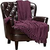 Chanasya Textured Knitted Super Soft Throw Blanket with Tassels Warm Cozy Plush Lightweight Fluffy Blanket for Bed Sofa…