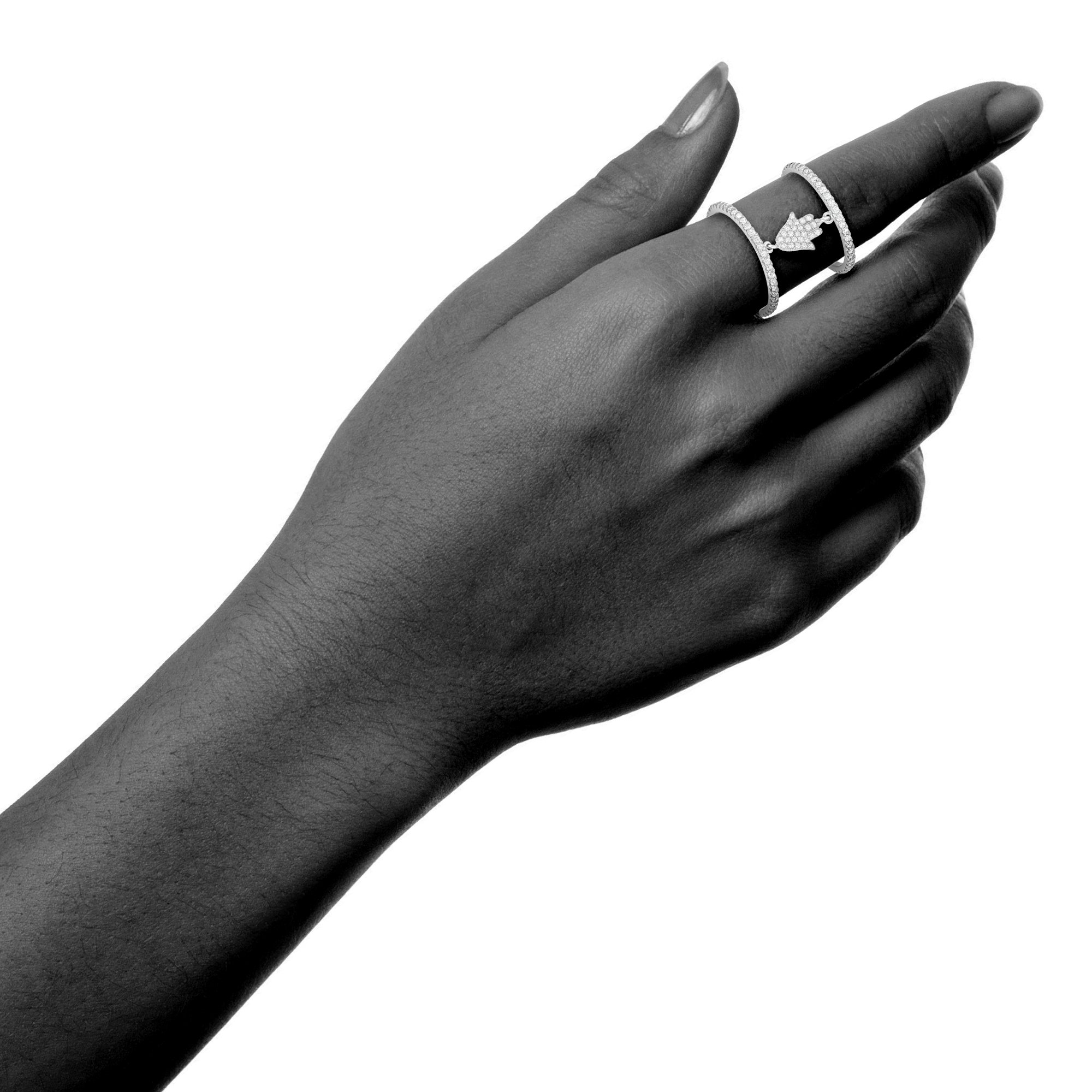 925 Sterling Silver White Inlay Cubic Zirconia Double Band Hamsa Hand Ring, Size 7 by Collection Bijoux (Image #4)