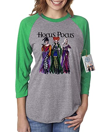 8f115510e52 Womens Raglan Shirt Top Hocus Pocus Shirt Sanderson Sisters Green Grey XS