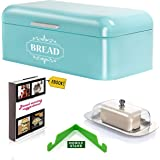 """Vintage Bread Box For Kitchen Stainless Steel Metal in Retro Turquoise Blue + FREE Butter Dish + FREE Bread Serving Suggestions eBook 16.5"""" x 9"""" x 6.5"""" Large Bread Bin storage by All-Green Products"""