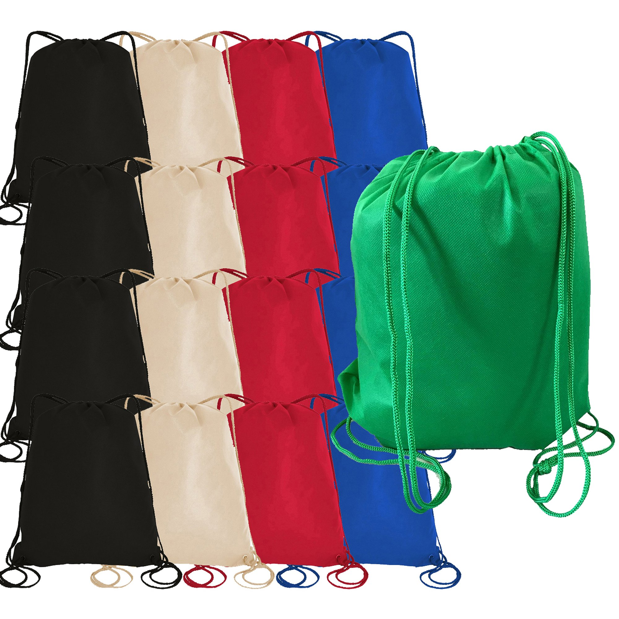 50 Pieces Bulk 100gm Non-Woven Polypropylene Drawstring Bag, Cinch Sack, Gift Bag, Sack Bag (ASSORTED-MIX)