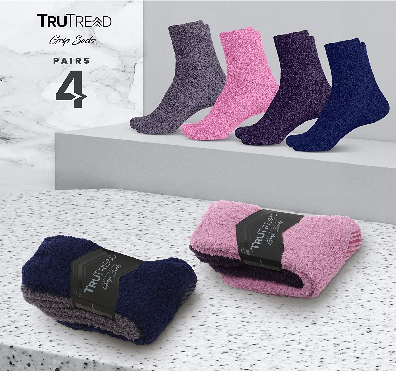 TruTread Fuzzy Socks for Women /& Men 4 Pairs Non Slip//Skid Hospital Crew Socks