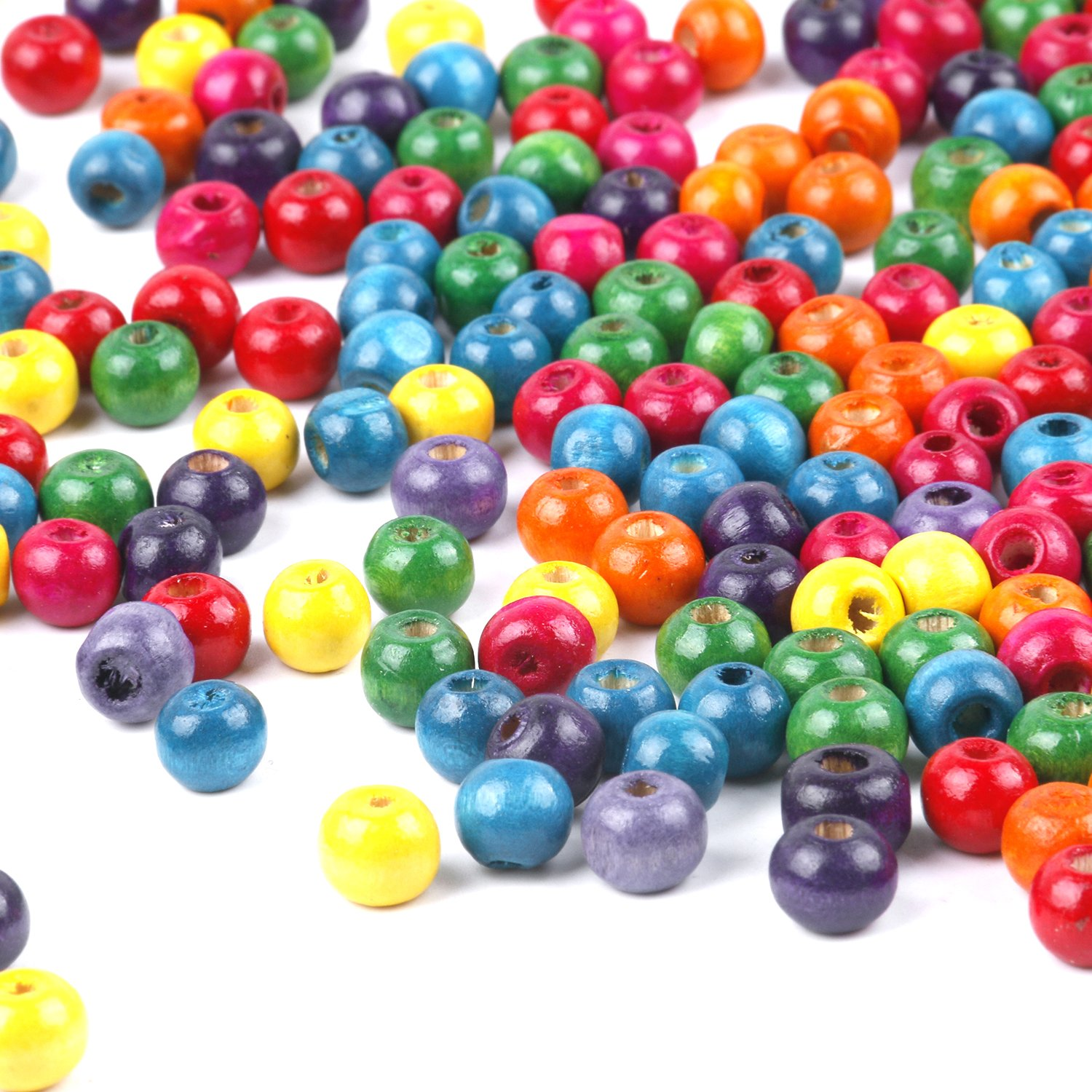 TRIXES 500 Mixed Colourful Wooden Beads 7mm Jewellery Arts Crafts Necklace Bangle