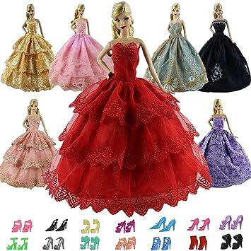 ZITA ELEMENT 15 Piezas Barbies Vestidos y Zapatos=5 Sets Vestidos Encaje de Noche +
