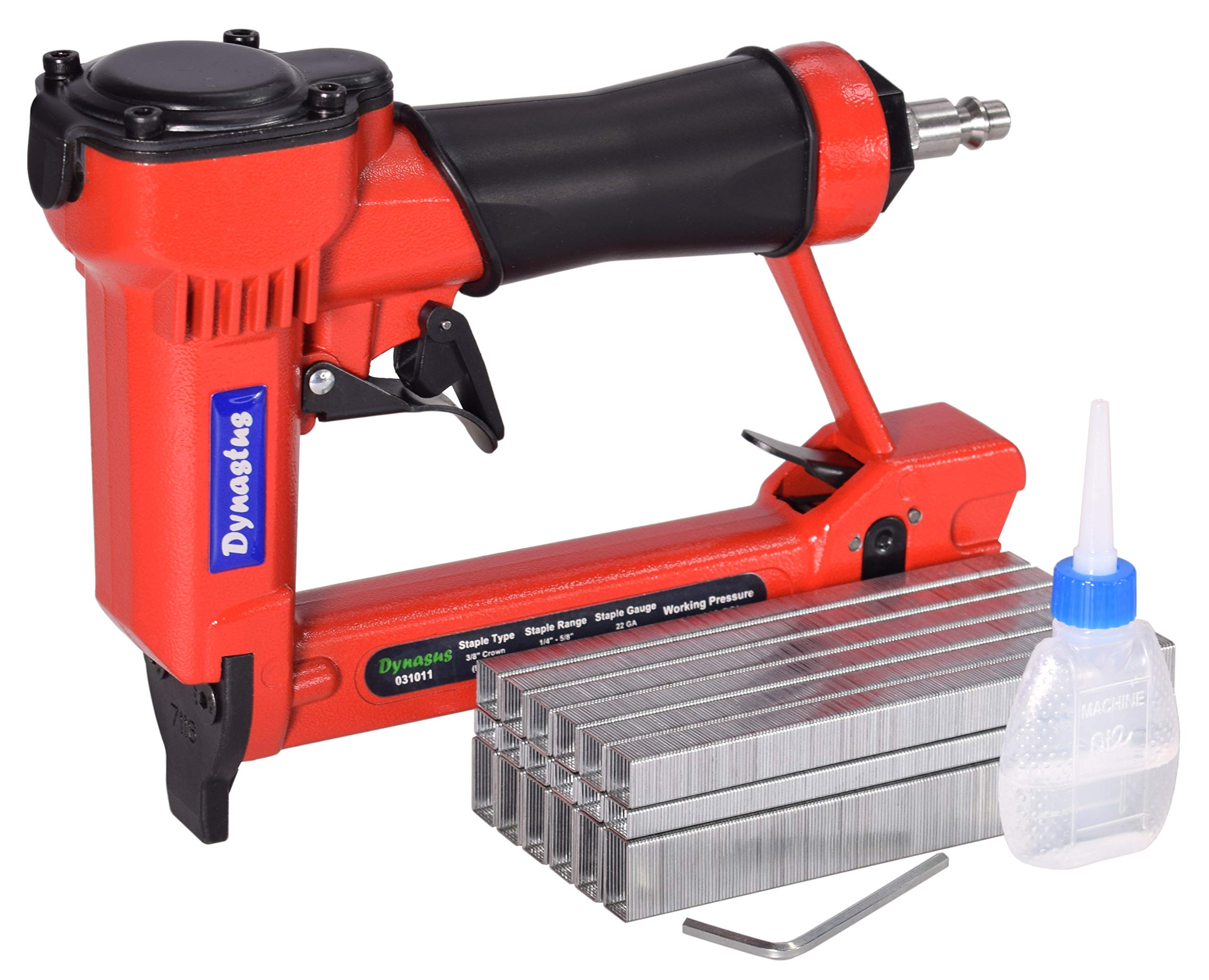 Pneumatic Upholstery Staple Gun, 22 Gauge 3/8'' Wide Crown Air Stapler Kit, by 1/4-Inch to 5/8-Inch, with 6000 staples by Dynastus