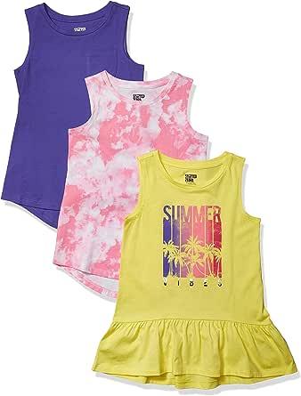 Spotted Zebra Amazon Brand Girl's 3-Pack Sleeveless Tunic Tops