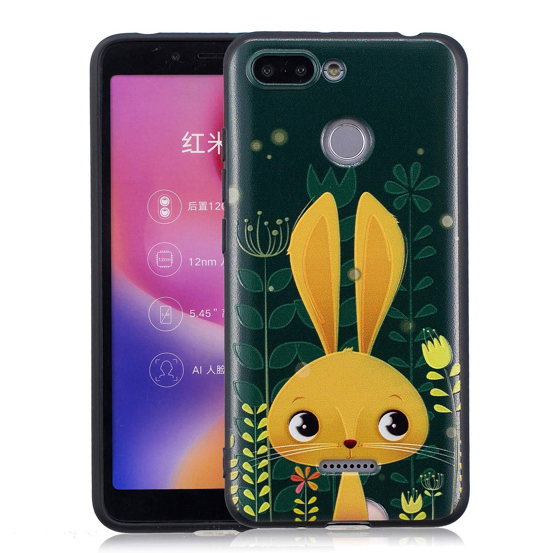 Felfy Custodia Compatibile con Xiaomi Redmi 6 Cover Silicone Morbido,Nero Custodia Ultra Sottile Soft Slim Silicone Cover Painted Design Anti Scivolo Anti-Scratch TPU Case.Gatto
