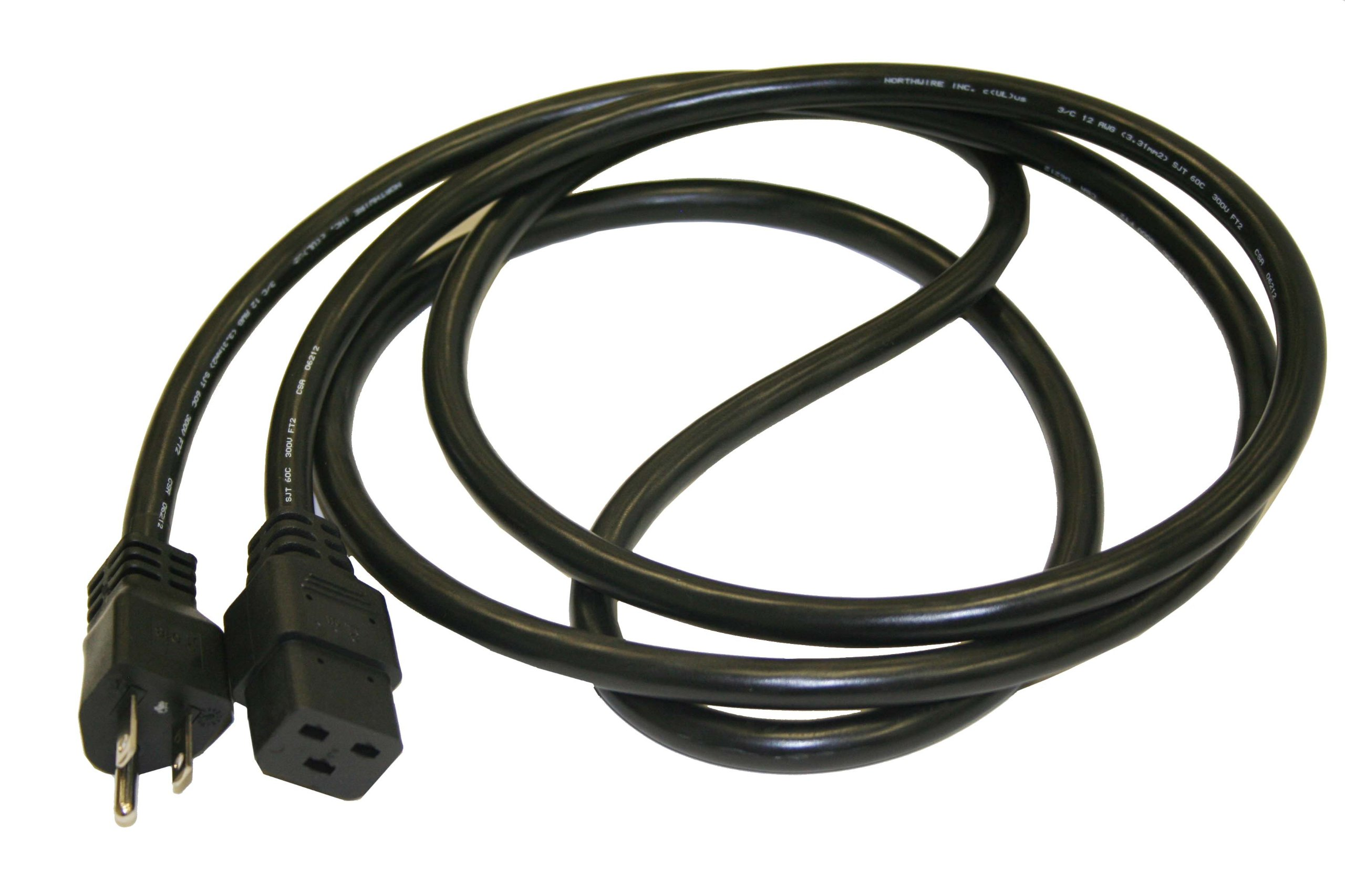 Interpower 71825110250 North American Cord Set, NEMA 5-15 Plug Type, IEC 60320 C19 Connector Type, Black Plug Color, Black Cable Color, 15A Amperage, 125VAC Voltage, 2.5m Length
