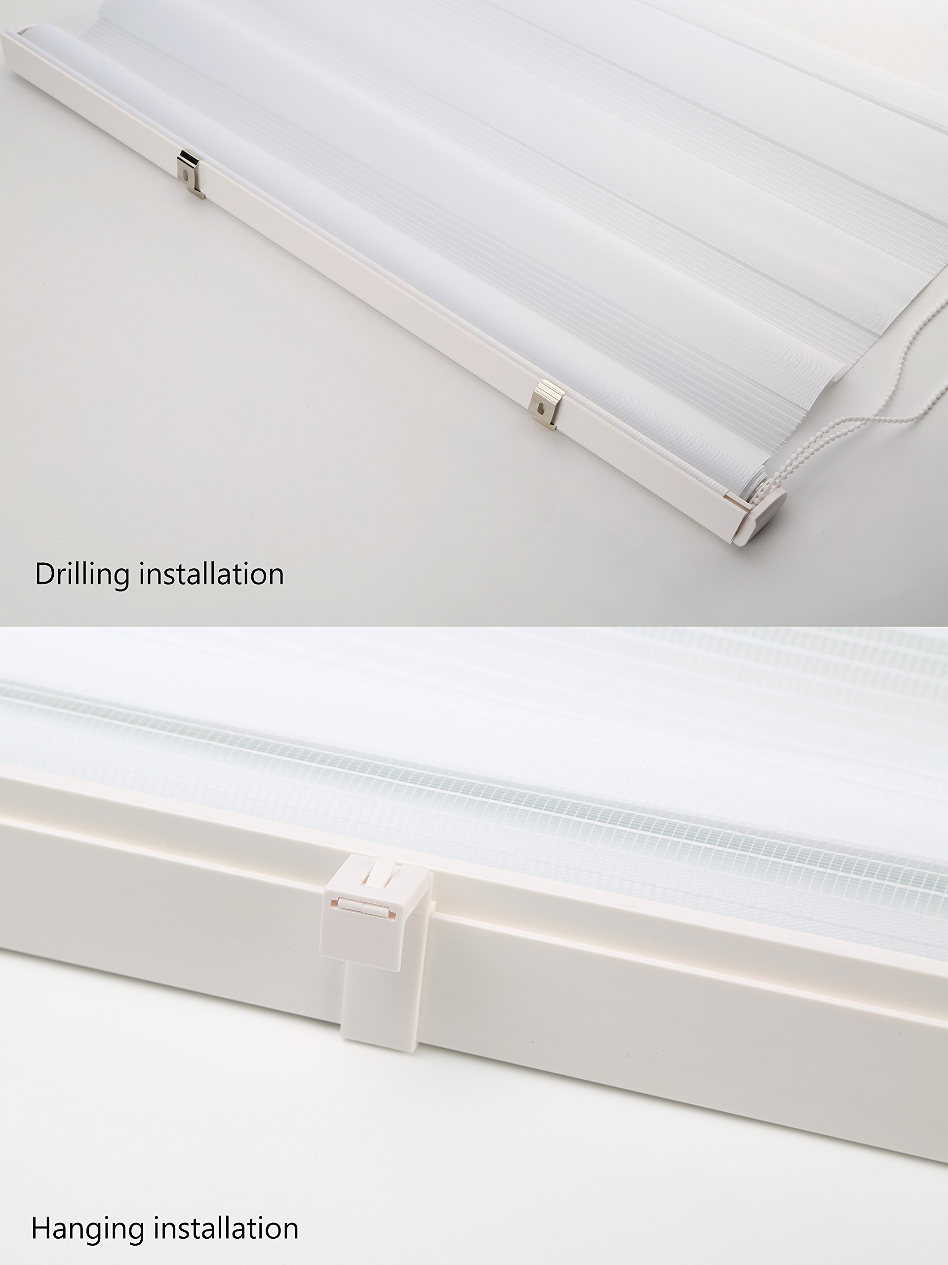 LUCKUP Easy Fix Zebra Roller Blind,Day and Night Blinds Curtains with Install Accessories (37.4'' x 59'', white) by LUCKUP (Image #5)