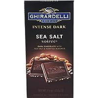 Ghirardelli Intense Dark Chocolate Bar - Sea Salt Soiree - Dark chocolate with sea salt and roasted almonds - 3.5 oz…