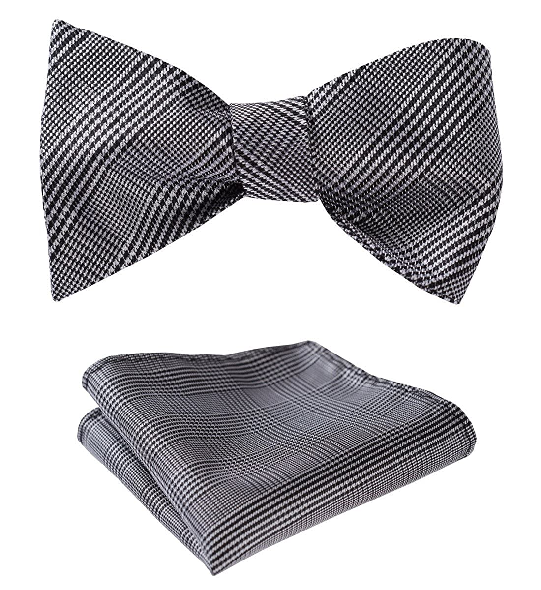 HISDERN Men's Check Handkerchief Jacquard Party Wedding Self Bow Tie Pocket Square Set BC807QS
