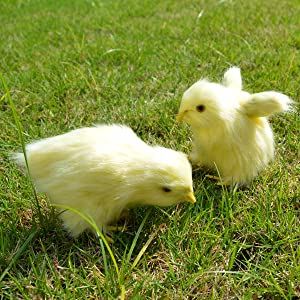 Sigmall 2pcs Spring Easter Chick Decor - Realistic Eat Fly Yellow Baby Chick Lifelike Furry Chicken Figurine Rabbit Fur Plush Animal Toy Easter Holiday Decoration Prop Photography (Eatting + Flying)