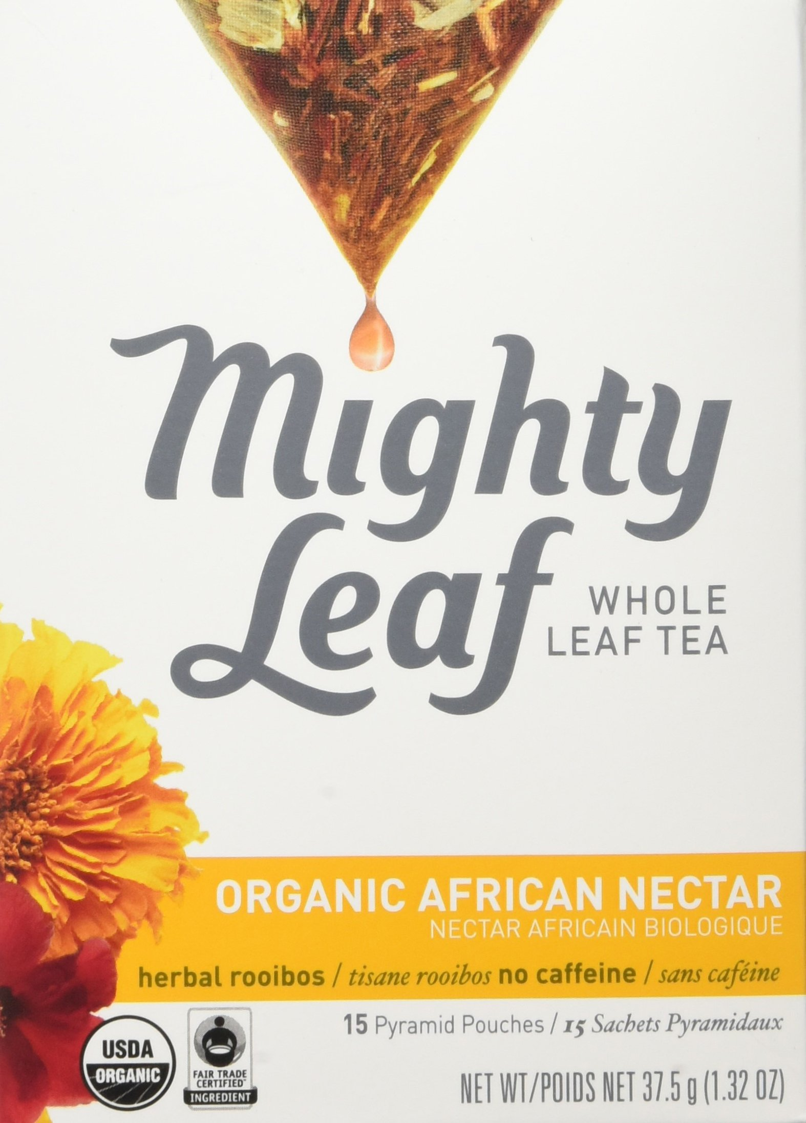 Mighty Leaf Herbal Tea, Organic African Nectar, 15 Pouches (Pack of 3) by Mighty Leaf Tea