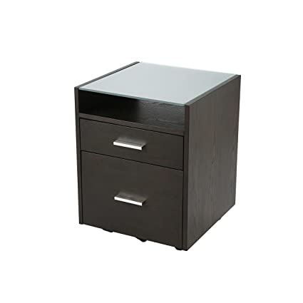 Euro Style Ballard 2 Drawer Mobile File Cabinet With Glass Top, Wenge  Stained