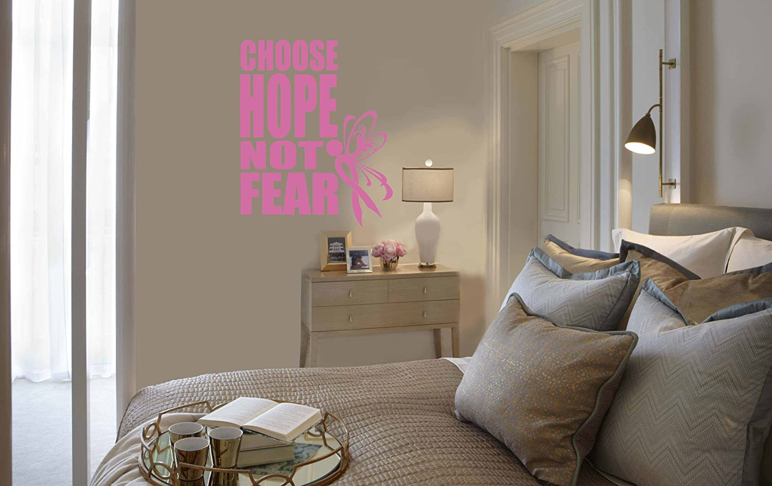 16-Inch x 20-Inch Pink Design with Vinyl Pink Star 1235 Choose Hope Not Fear Breast Cancer Awareness Quote Vinyl Wall Decal