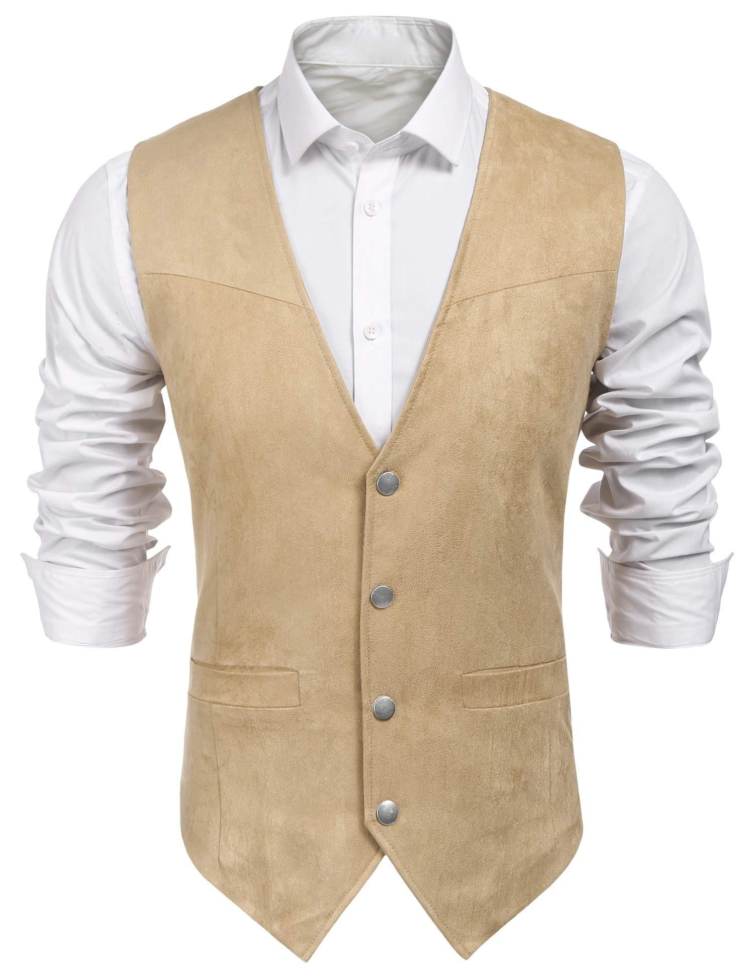 Edited Mens Faux Suede Vest Dress Suit Vest Formal Waistcoat for Wedding by Edited (Image #2)