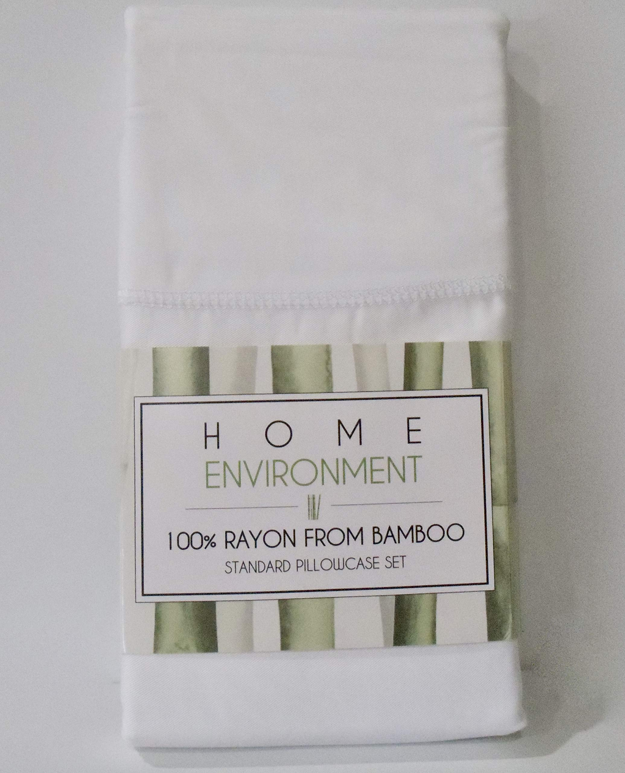 Home Environment Premium Rayon Bamboo (2) Standard Pillowcases Wonderfully Soft in White