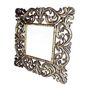 The Urban Store Decorative Hand Crafted Wooden Mirror (24 x 24 Inch)