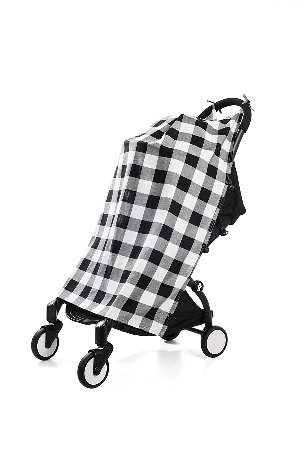 Henry and BROS.Travel, Stroller, Canopy, Baby Blankets For Boys/Baby Blankets For Girls, Newborn Baby Blanket, Made Of 100% Cotton (Black and White Buffalo Check) Henry and Brothers TRRBF15
