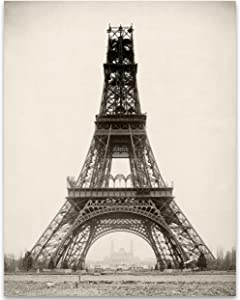 French Eiffel Tower Under Construction in France - 11x14 Unframed Print - Perfect Vintage Home Decor Under $15