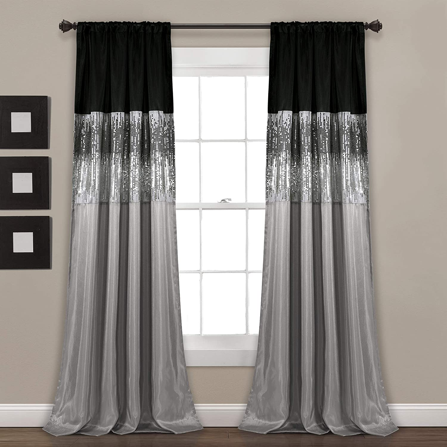 Amazon Com Lush Decor Night Sky Panel For Living Bedroom Dining Room Single Curtain 84 X 42 Grey And Black Home Kitchen