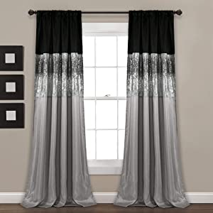 Lush Decor 16T004563 Black and Gray Night Sky Panel for Living, Bedroom, Dining Room (Single Curtain), 95
