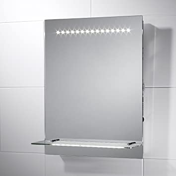 Pebble Grey Rectangular Eris LED Illuminated Bathroom Mirror With Lights Size 390mmW