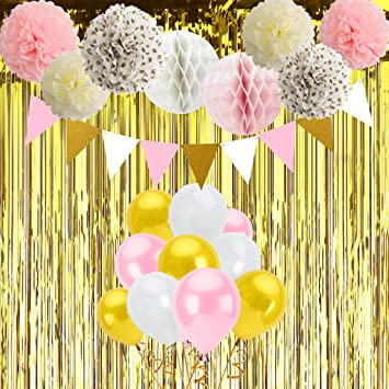 Pink And Gold Party Decorations Birthday Set White Balloons Tissue Paper Pom Poms