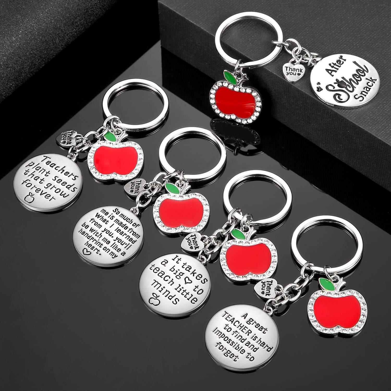5 Pieces Teacher Keychain for Women Men Teacher Appreciation Gifts Thank You Gift Heart Charm Jewelry Keychains Set