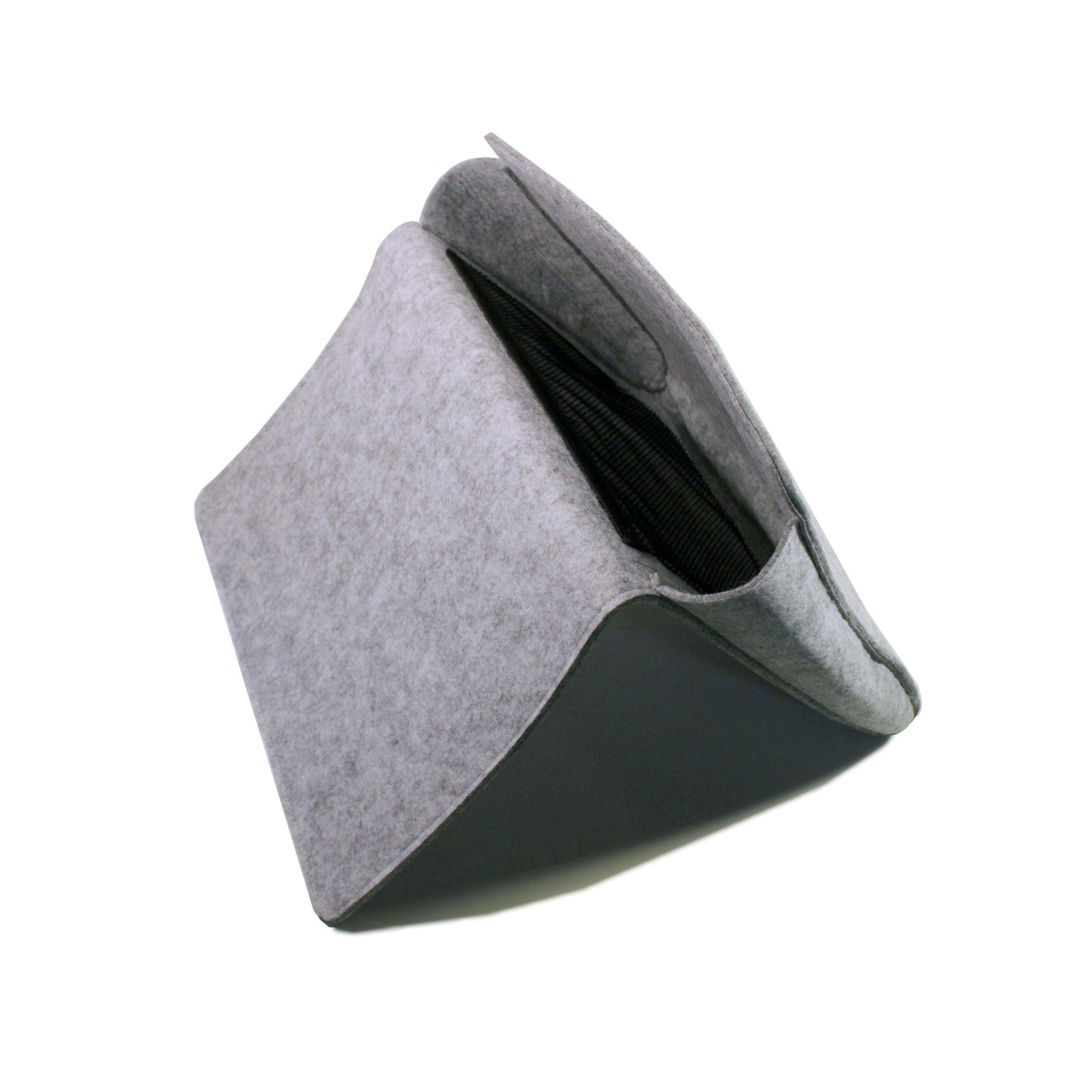 Prime Motif Gray Bedside Caddy with Extra Pockets - 1 Large Pocket and 2 Mesh Pockets - Bedside Storage Organizer Modern Felt Magazine Holder - Simplistic Design Hang Bag for Books, Remote, Laptop
