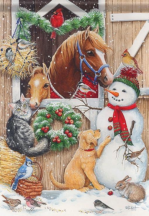 Estable visitantes muñeco de nieve Navidad bandera de Jardín perro caballo gato, conejo y pájaro 13