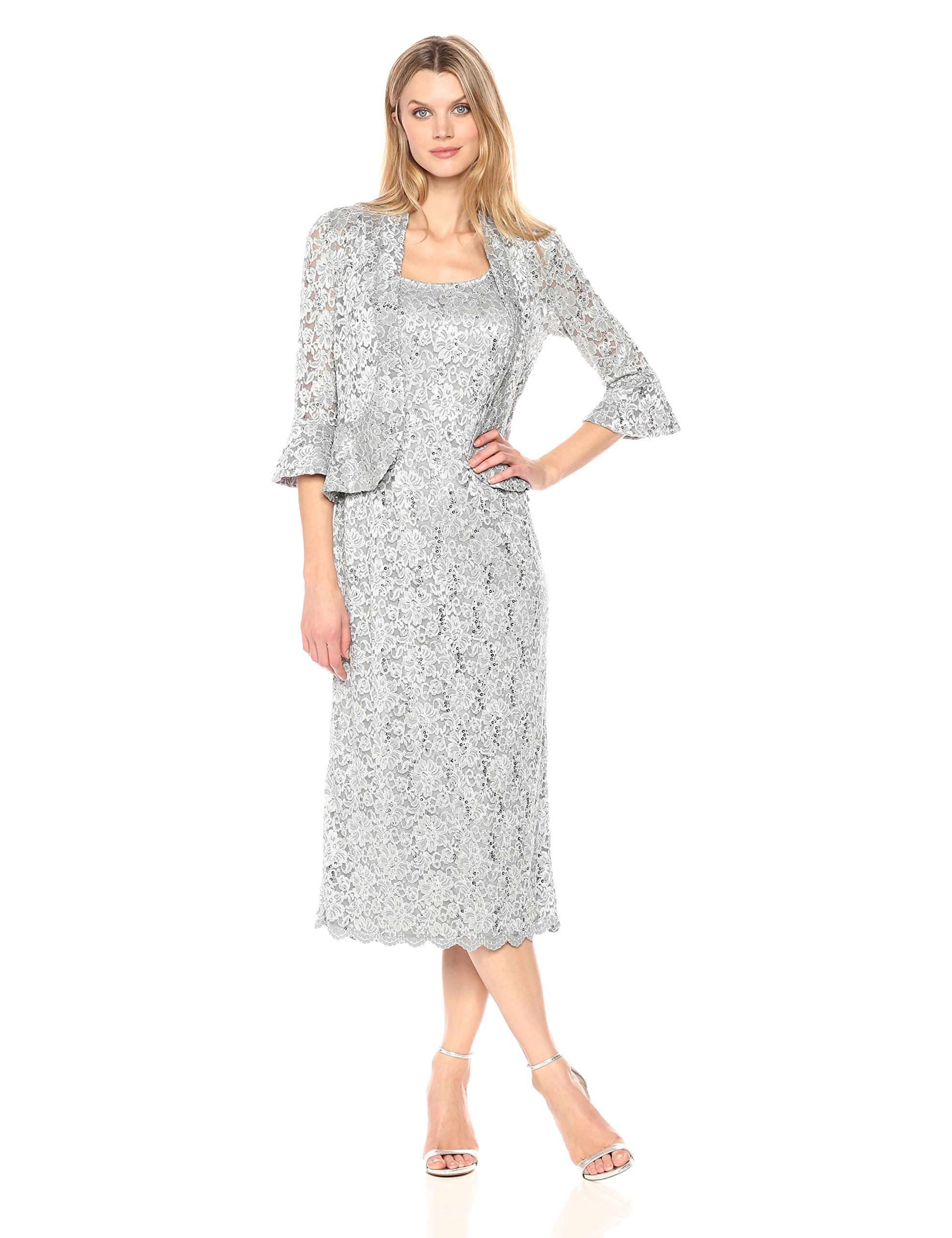 R&M Richards Women's Two Piece Lace Long Jacket Dress Missy, Silver, 12 by R&M Richards