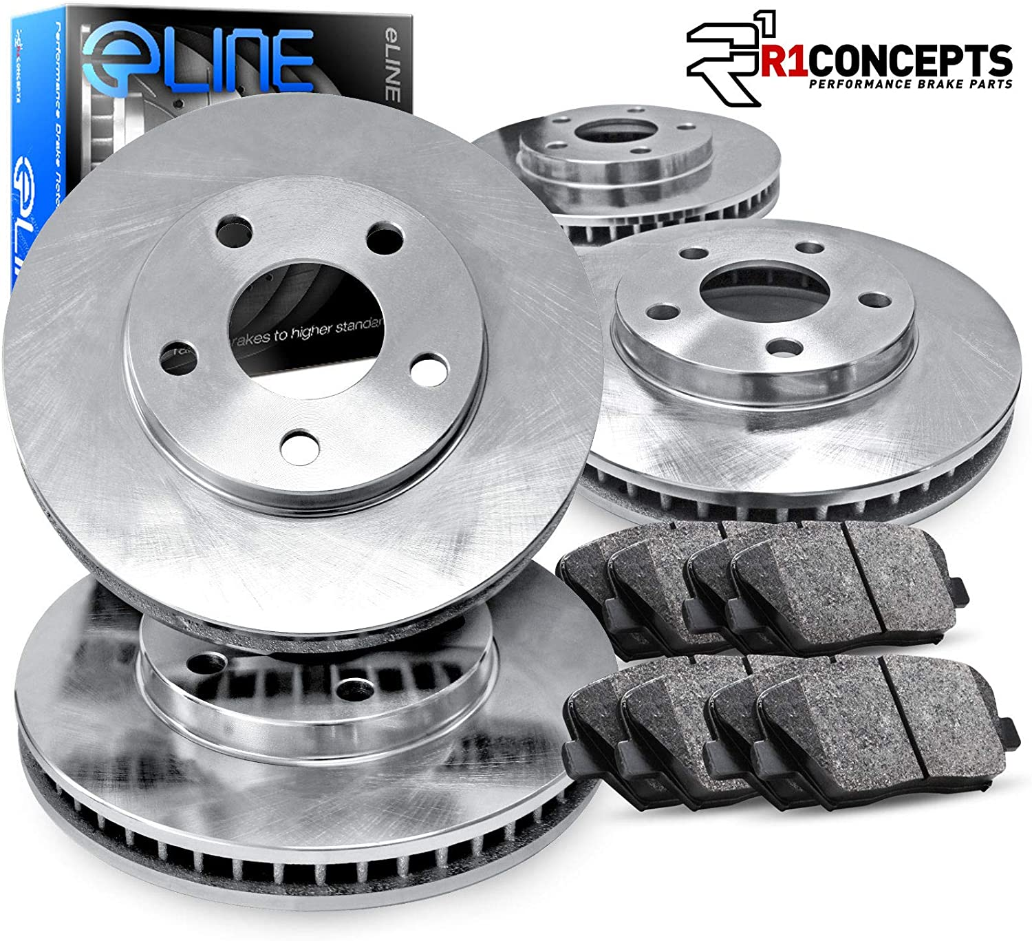 For 2014-2016 Mazda 3 Sport Front Rear eLine Plain Brake Rotors+Ceramic Pads