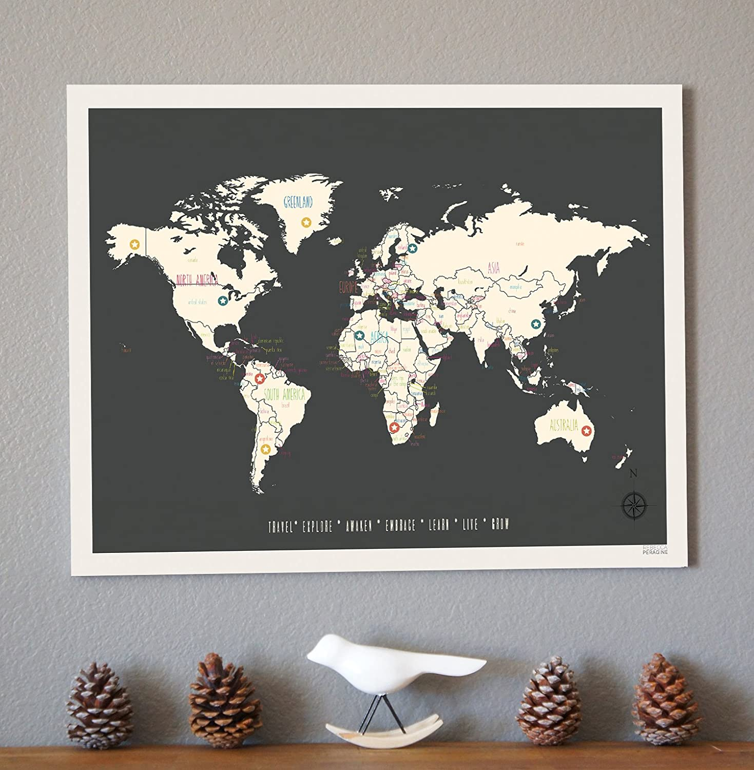 Amazon world travel map vintage personalized 24 x 18 wall art amazon world travel map vintage personalized 24 x 18 wall art print poster for children kids baby toddler newborn bohemian boho nordic style for gumiabroncs Gallery