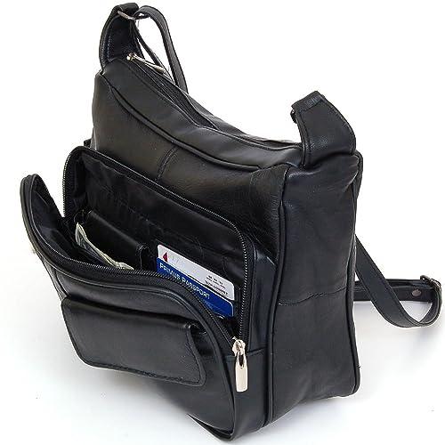 77165147a8d0 Women s Leather Organizer Purse Shoulder Bag Multiple Pockets Cross Body  Handbag (Black)