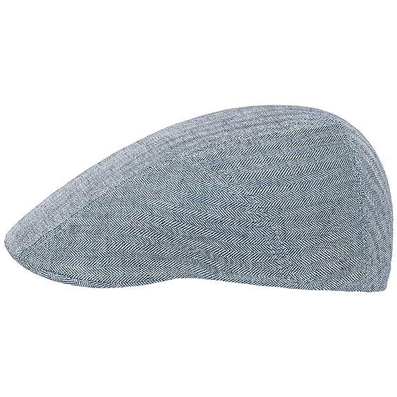 f68f4b591c15b7 Stetson Genuine Light Blue Denim Herringbone Linen Driver Flat Cap:  Amazon.co.uk: Clothing