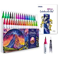 Professional Watercolor Brush Markers Pens Set, Ohuhu 36 Colors Water-based Paint Marker with 12-Sheet Watercolor Pad…