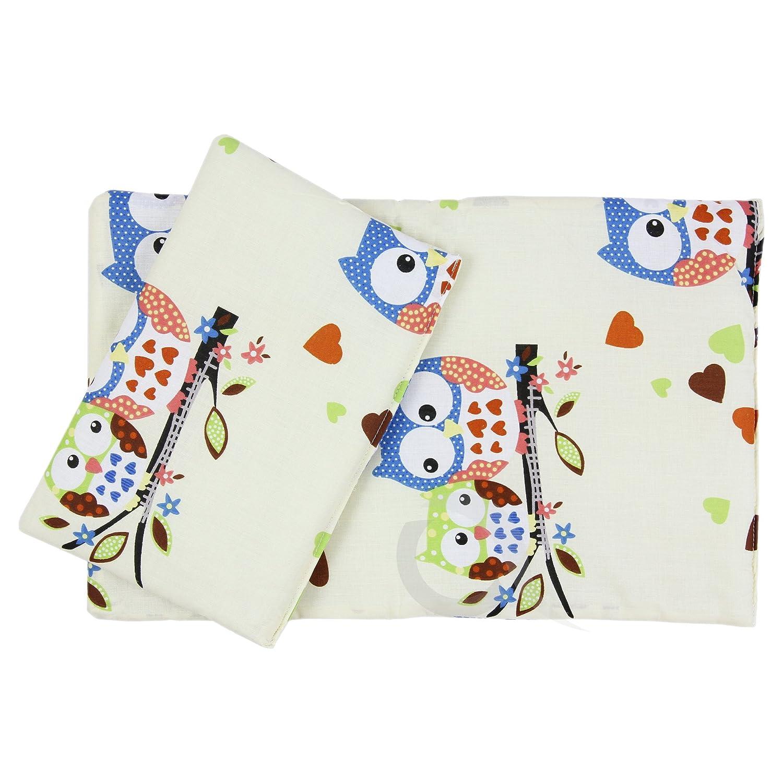 Dolls Teddy Quilt /Duvet Pillow Bedding Set Fits Up to 46cm 18' Doll Pram /Cot (cream/blue owl) OLO Direct
